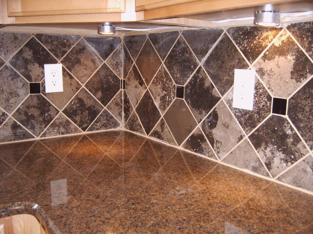 kitchen backsplash in diamond pattern with inlay