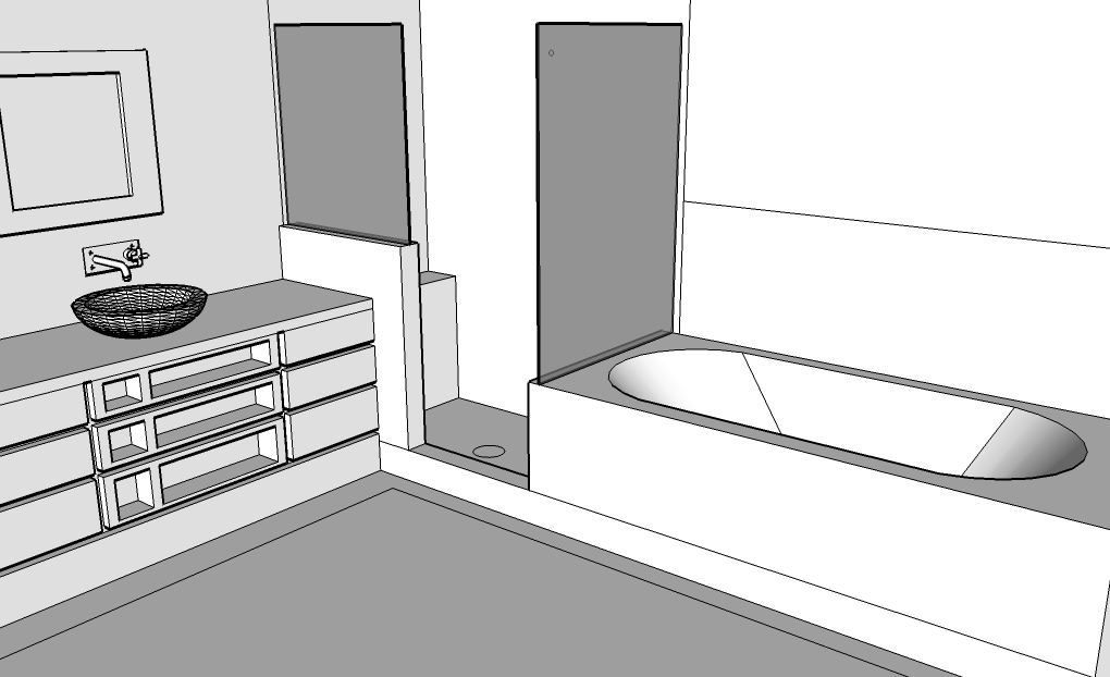 Sketchup design for tiled bathroom